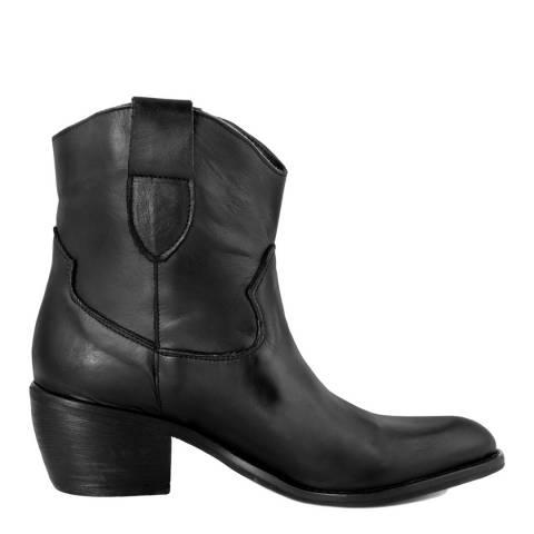 Pelledoca Black Lia Leather Cowboy Ankle Boot