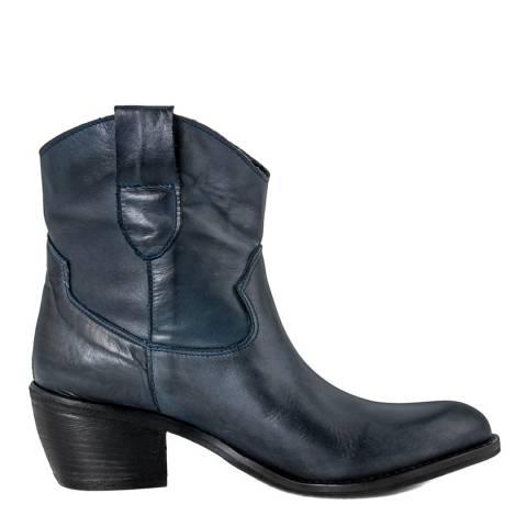 Pelladoca Dark Blue Lia Leather Cowboy Ankle Boot