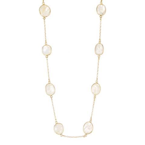 Liv Oliver 18K Gold Plated Moonstone Station Necklace