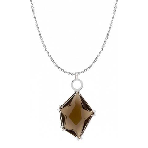 Liv Oliver Sterling Silver & Geometric Smokey Quartz Necklace