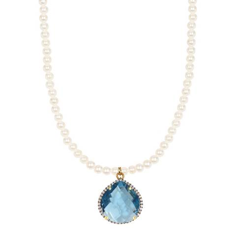 Liv Oliver 18K Gold Plated Blue Quartz CZ Pear Drop Pearl Necklace