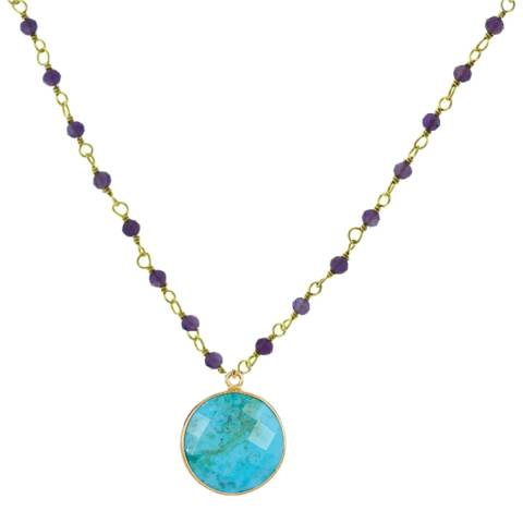 Liv Oliver 18K Gold Amethyst & Turquoise Drop Necklace