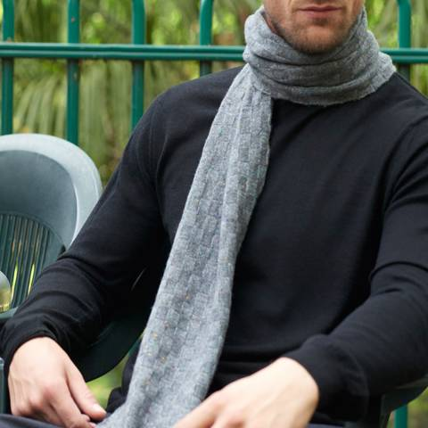 Mr Quintessential Wisp – Luxury basket weave cashmere scarf - Heather grey