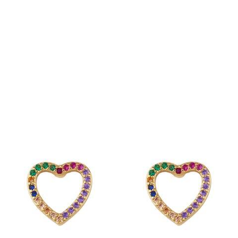 Arcoris Jewellery 18K Gold Plated Emerald Cut Rainbow Circle Earrings