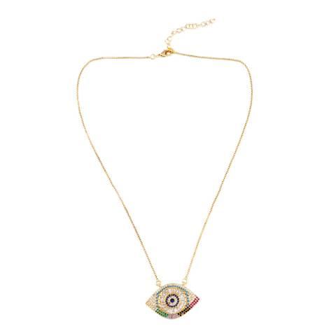 Arcoris Jewellery 18K Gold Plated Rainbow Pav'e Evil Eye Necklace