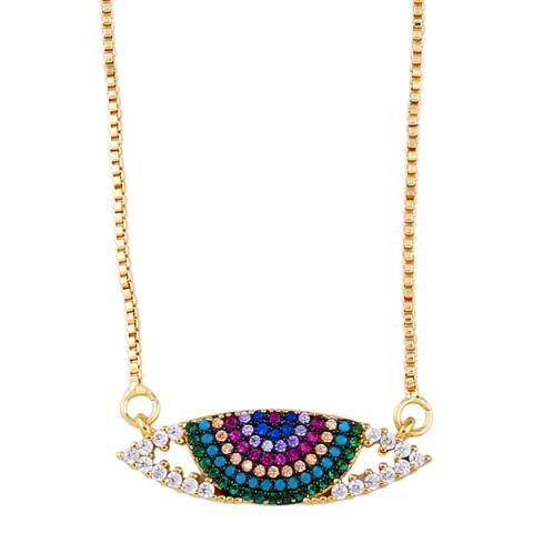 Arcoris Jewellery 18K Gold Plated Turquoise Rainbow Pav'e Evil Eye Necklace