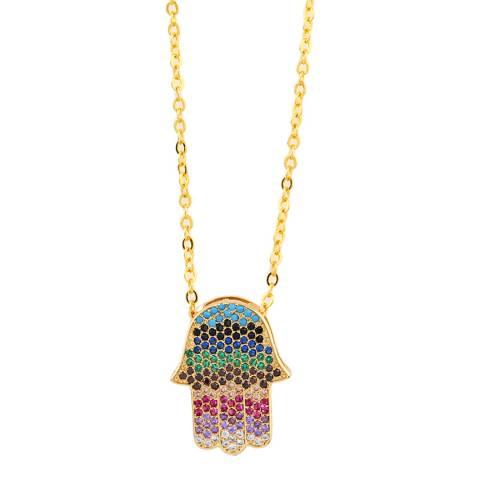 Arcoris Jewellery 18K Gold Plated Rainbow Pav'e Hamsa Necklace