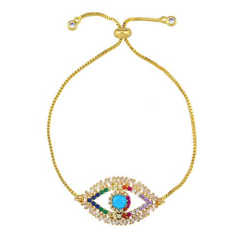 Arcoris Jewellery 18K Gold Plated Evil Eye Pav'e Bracelet