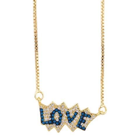 Arcoris Jewellery 18K Gold Plated Blue Love Pav'e Necklace
