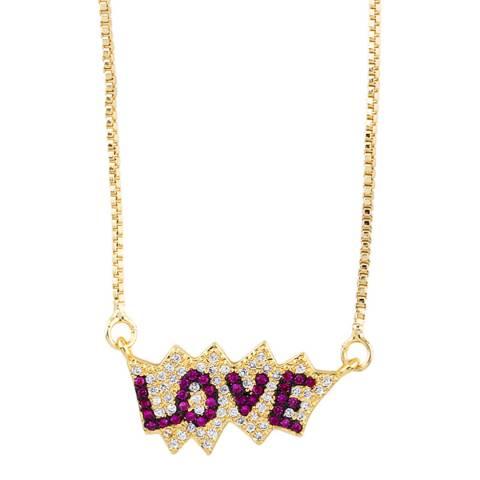 Arcoris Jewellery 18K Gold Plated Pink Love Pav'e Necklace