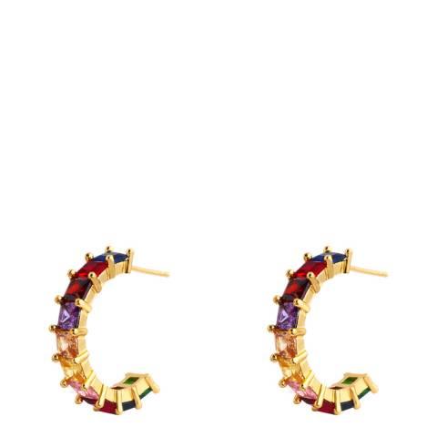Arcoris Jewellery 18K Gold Plated Princess Cut Rainbow Huggie Earrings