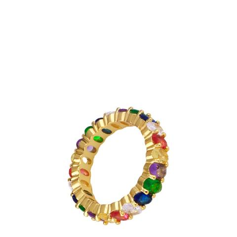 Arcoris Jewellery 18K Gold Plated Rainbow Baguette Cut Ring