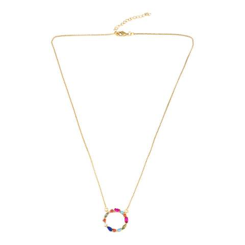 Arcoris Jewellery 18K Gold Plated Rainbow Classic Circle Necklace