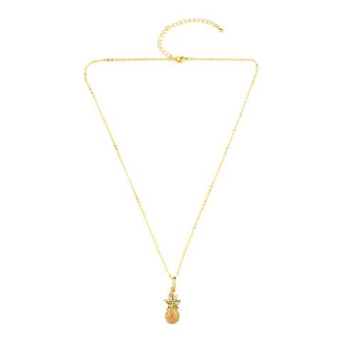 Arcoris Jewellery 18K Gold Plated Pav'e Tropical Pineapple Necklace