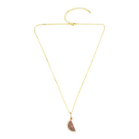 Arcoris Jewellery 18K Gold Plated Rainbow Pav'e Watermelon Necklace