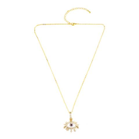 Arcoris Jewellery 18K Gold Plated Purple Evil Eye Necklace