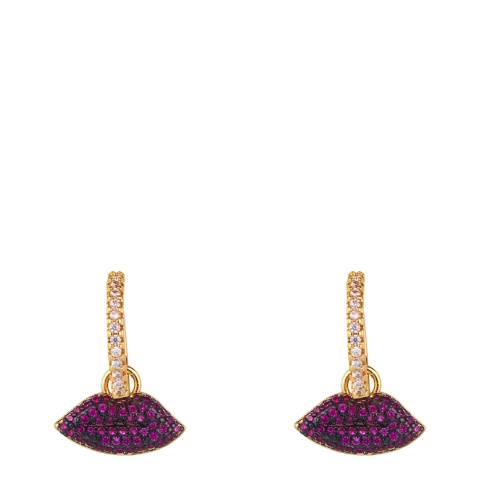 Arcoris Jewellery 18K Gold Plated Pink Pav'e Dangling Lips Earrings