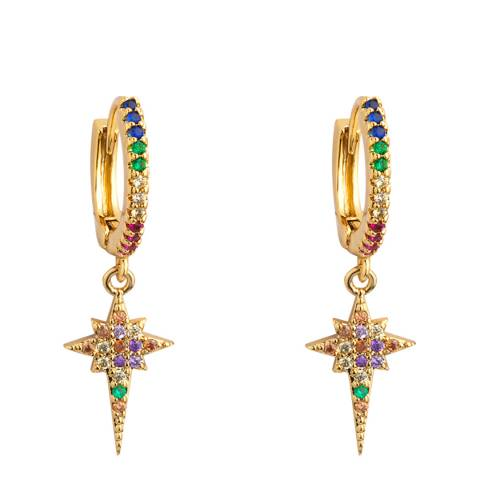 Arcoris Jewellery 18K Gold Plated Rainbow Pav'e Star Clip On Earrings