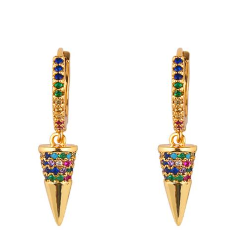 Arcoris Jewellery 18K Gold Plated Rainbow Pav'e Tooth Clip On Earrings