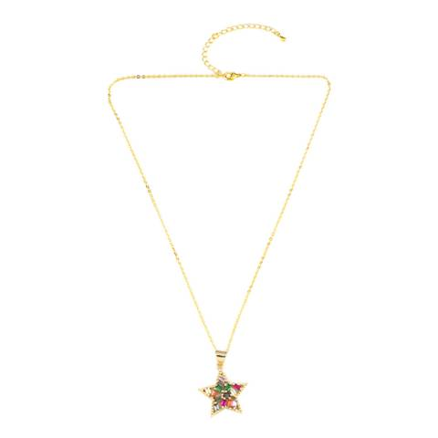 Arcoris Jewellery 18K Gold Plated Abstract Rainbow Star Necklace