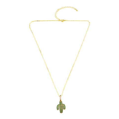 Arcoris Jewellery 18K Gold Plated Pav'e Cactus Necklace