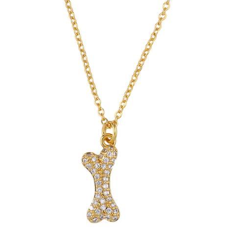 Arcoris Jewellery 18K Gold Plated Pav'e Puppy Bone Necklace