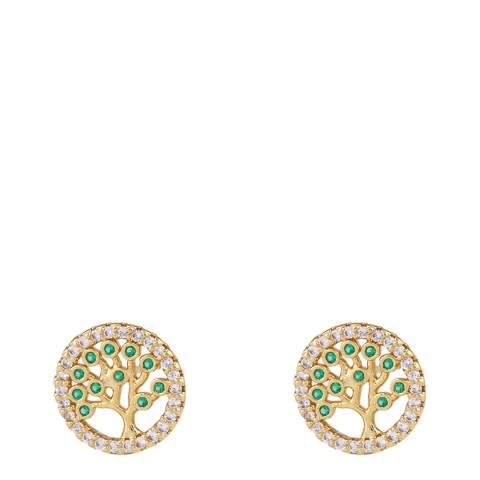 Arcoris Jewellery 18K Gold Plated Pav'e Tree of Life Circle Studs