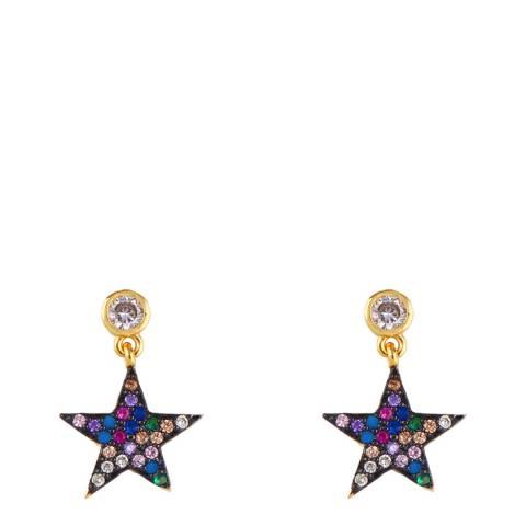 Arcoris Jewellery 18K Gold Plated Blue Star Drop Earrings