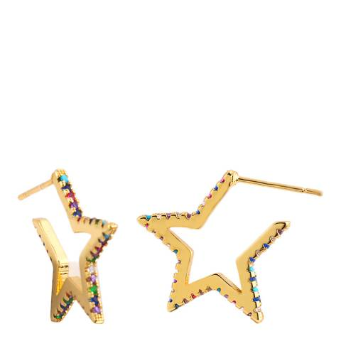 Arcoris Jewellery 18K Gold Plated Rainbow Pav'e Star Shaped Earrings