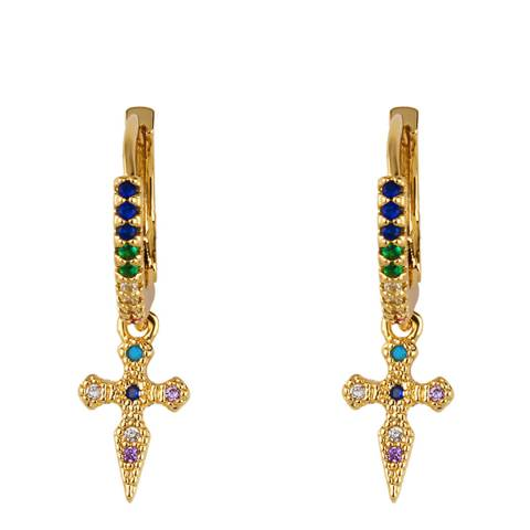 Arcoris Jewellery 18K Gold Plated Rainbow Pav'e Cross Clip On Earrings