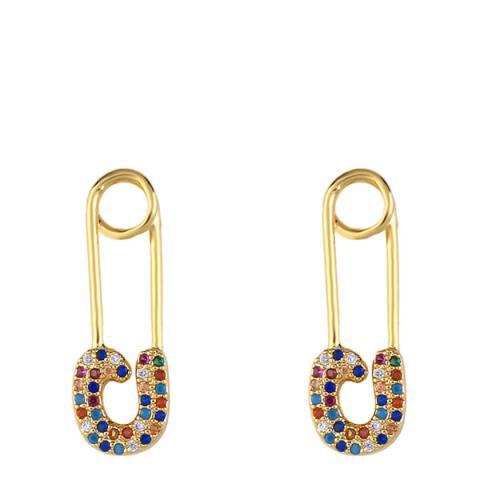 Arcoris Jewellery 18K Gold Plated Rainbow Pav'e Paperclip Earrings