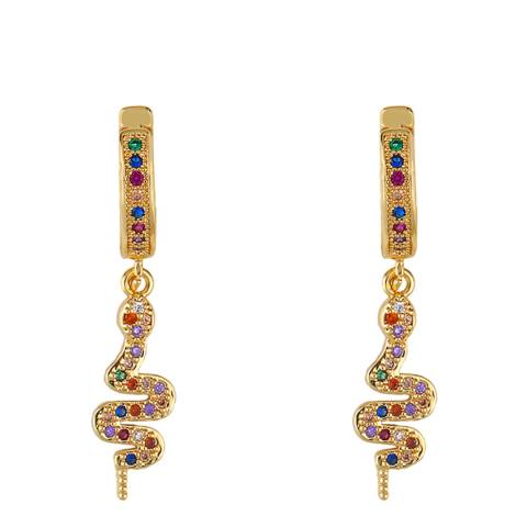 Arcoris Jewellery 18K Gold Plated Rainbow Pav'e Snake Drop Earrings