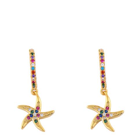 Arcoris Jewellery 18K Gold Plated Rainbow Pav'e Seashell Dangling Earrings
