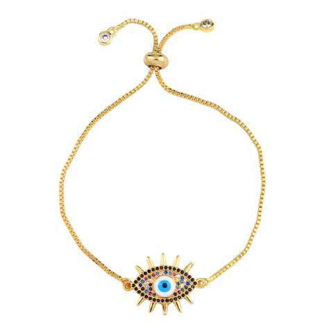 Arcoris Jewellery 18K Gold Plated Evil Eye Pendant Bolo Bracelet