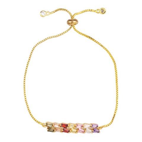 Arcoris Jewellery 18K Gold Plated Emerald Cut Rainbow Bolo Bracelet
