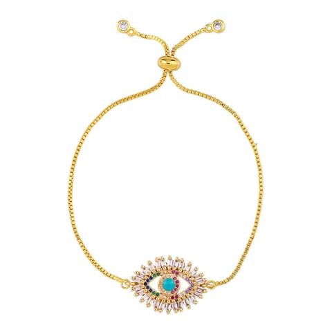 Arcoris Jewellery 18K Gold Plated Evil Eye Bolo Bracelet