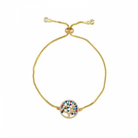 Arcoris Jewellery 18K Gold Plated Tree Of Life Rainbow Pendant Bolo Bracelet