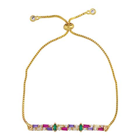 Arcoris Jewellery 18K Gold Plated Rainbow Multi-Cut Bar Bracelet