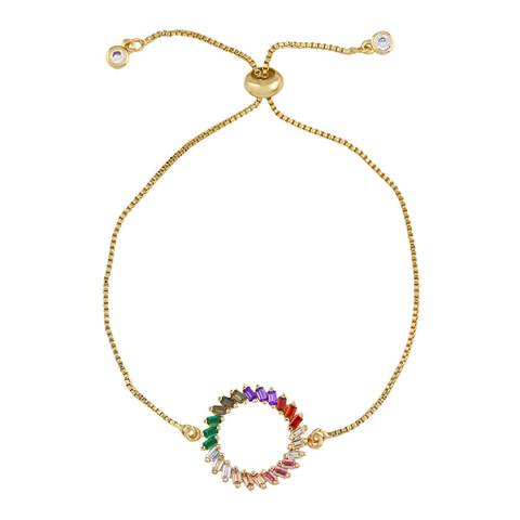 Arcoris Jewellery 18K Gold Plated Curved Rainbow Circle Bracelet