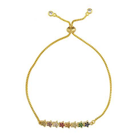 Arcoris Jewellery 18K Gold Plated Rainbow Abstract Bar Bracelet