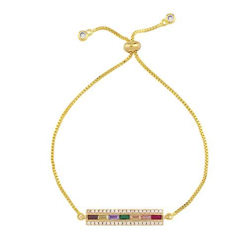 Arcoris Jewellery 18K Gold Plated Rainbow Pav'e ID Tag Bracelet