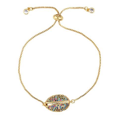 Arcoris Jewellery 18K Gold Plated Rainbow Pav'e Circle Bracelet