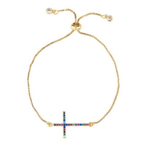 Arcoris Jewellery 18K Gold Plated Rainbow Pav'e Cross Bracelet
