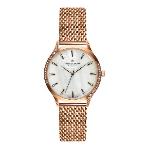Frederic Graff Women's Rose Clariden Rose Gold Mesh Watch with Interchangeable Strap 18 mm