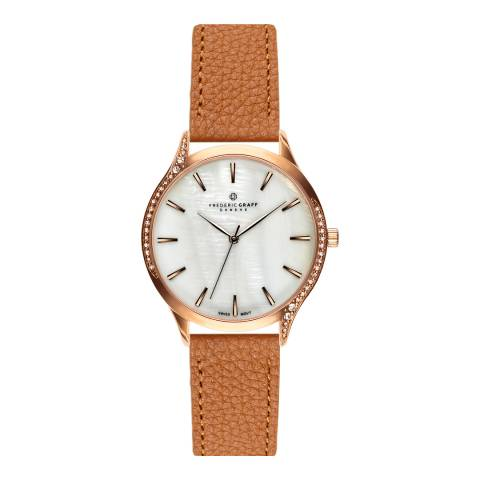 Frederic Graff Women's Rose Clariden Lychee Ginger Brown Leather Watch 18 mm