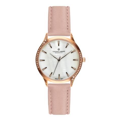 Frederic Graff Women's Rose Clariden Lychee Pink Leather Watch 18 mm