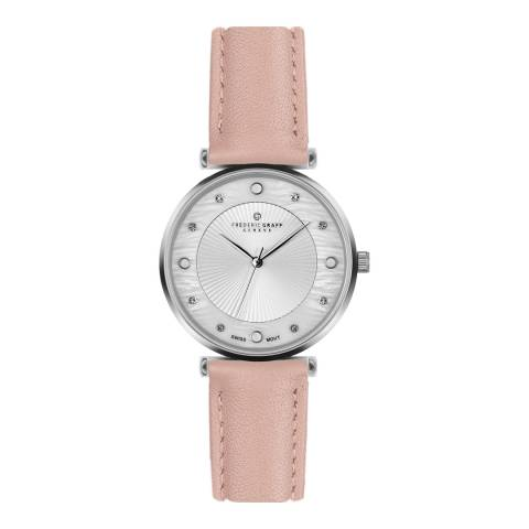 Frederic Graff Women's Silver Jungfrau Lychee Pink Leather Watch 18 mm