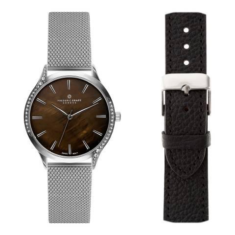 Frederic Graff Women's Silver Basodino Silver Mesh Watch with Interchangeable Strap 18 mm