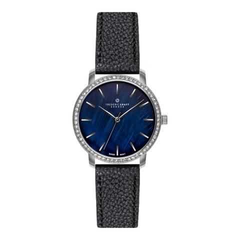 Frederic Graff Women's Silver Monte Leone Lychee Black Leather Watch 18 mm