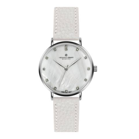 Frederic Graff Women's Silver La Singla Lychee White Leather Watch 18 mm